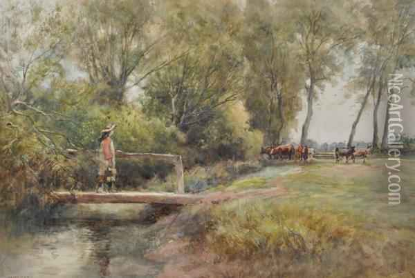 Rural Scene With Girl On Awooden Bridge Oil Painting - William Heath