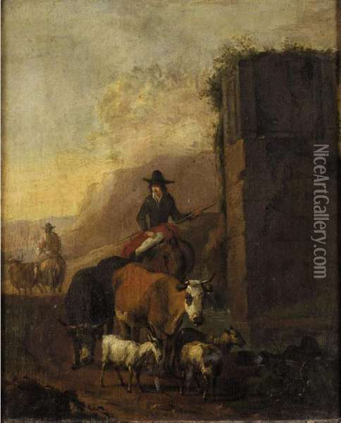 Drovers And Their Animals Beside A Ruin Oil Painting - Sebastian Heemskerck