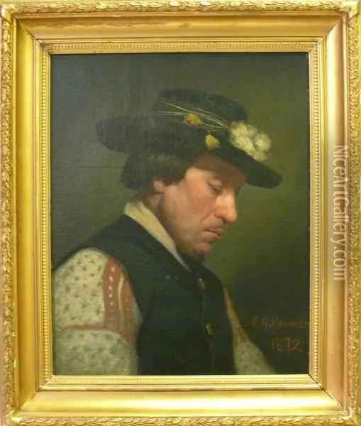 Mansportratt. Oil Painting - Carl-Gustaf Hellqvist