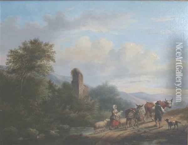 Journey In The Countryside Oil Painting - Gerardus Hendriks
