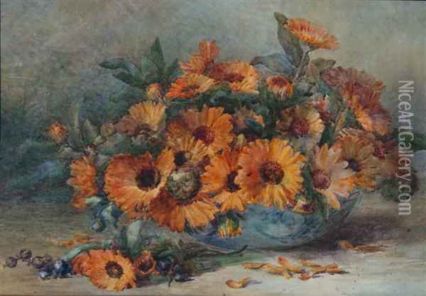 Orange Calendula In A Blue Bowl Oil Painting - Marie Hensley