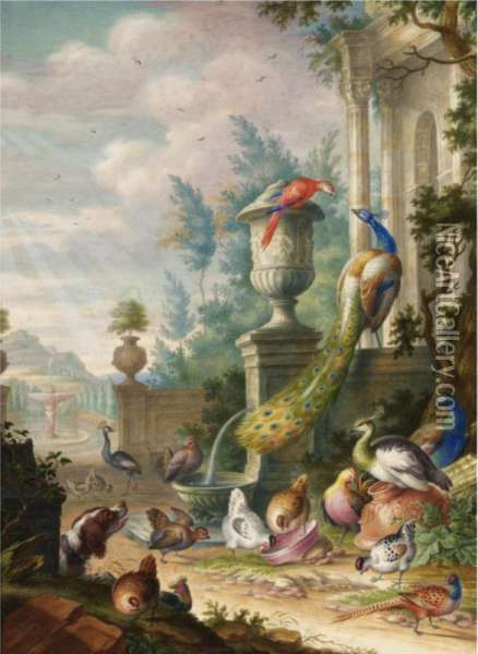 Peacocks, A Parrot And Other Fowl, Watched By A Spaniel, In A Classical Park Landscape Oil Painting - Herman Henstenburgh