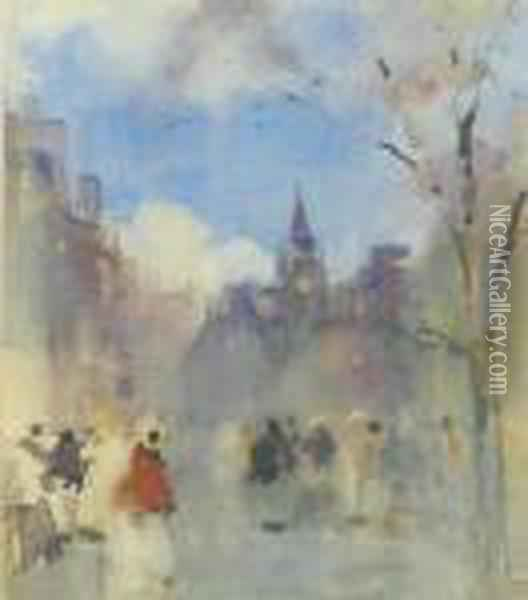 Figures On The Royal Mile, Edinburgh With St. Giles' Cathedral In The Distance Oil Painting - James Watterston Herald