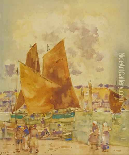 Ferryden Harbour Oil Painting - James Watterston Herald