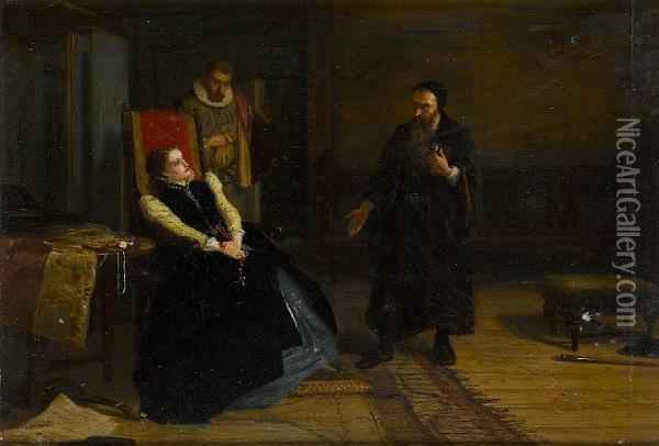 Mary Queen Of Scots And John Knox Oil Painting - Robert Herdman