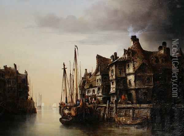 Dutch Canal Scene Oil Painting - Ludwig Herrmann