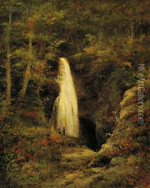 Woodland Waterfall Oil Painting - George F. Higgins