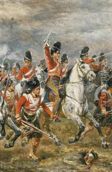 The Charge Of The Royal Scots Greys At Waterloo, Supported By A Highland Regiment Oil Painting - Robert Alexander Hillingford