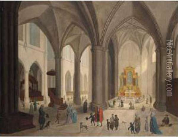 A Church Interior With Figures And Dogs, Figures Praying In The Background; A Church Interior With Figures And Dogs, An Old Man Sitting Against The Pillar To The Left Oil Painting - Johann Jakob Hoch