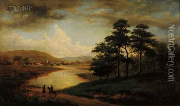 Riders Along The River Bank Oil Painting - Sylvester Phelps Hodgson