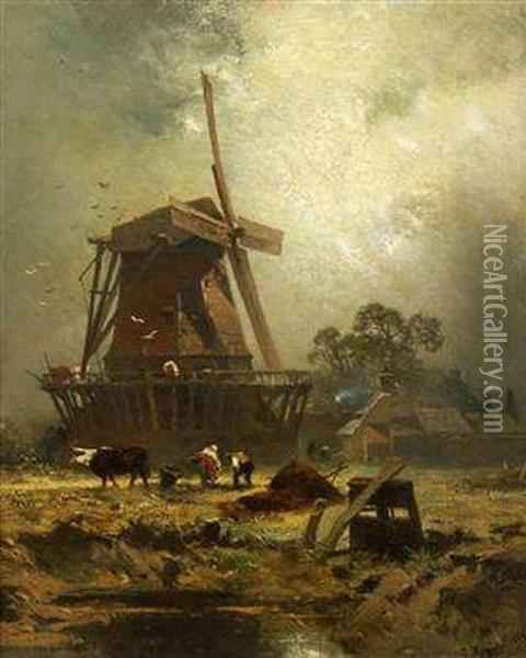 A Windmill Oil Painting - Charles Hoguet