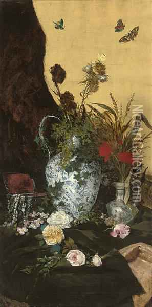 Still Life With Butterflies Oil Painting - August Holmberg