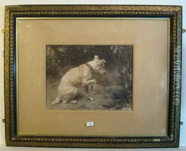 The Jack Russell And A Hedgehog Oil Painting - George Holmes