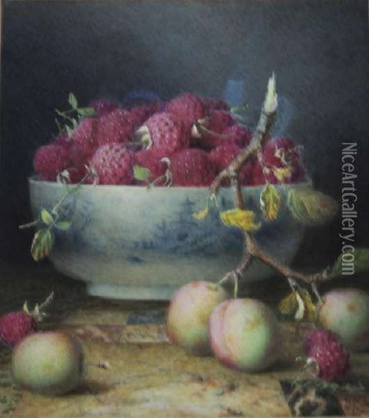 Raspberries And Plums Oil Painting - William B. Hough
