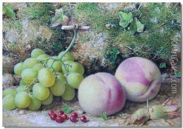 Still Life Study Of Grapes, Peaches And Red Currants Oil Painting - William B. Hough