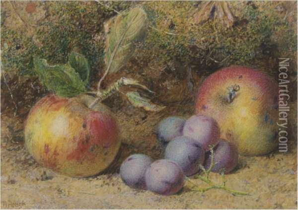 Still Life Of Apples And Grapes Oil Painting - William B. Hough