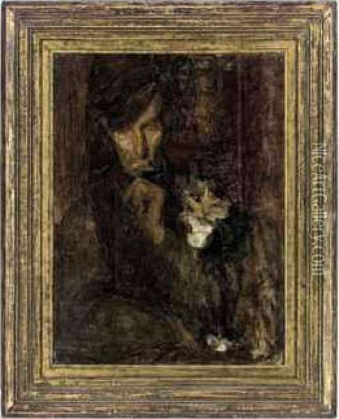 A Man With A Cat Oil Painting - Beatrice Julia How
