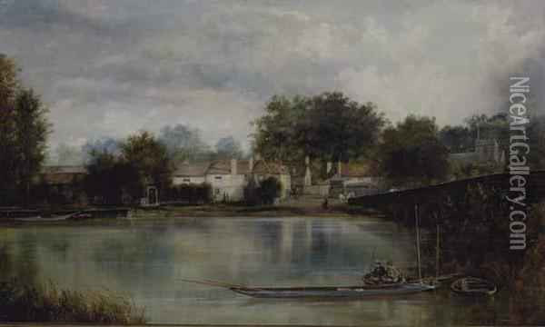 Figures Fishing On A Boat In Front Of A Town Landscape Oil Painting - William Howard Hart