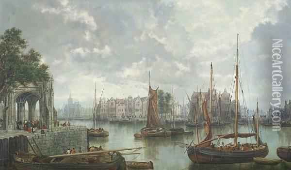Barges On A Dutch Canal Oil Painting - William Howard Hart