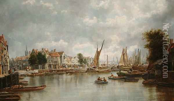A Busy Continental Harbour, Signed Oil Painting - William Howard Hart