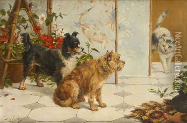 Chiens Et Chat Oil Painting - Leon Charles Huber