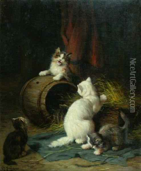 Les Quatre Chatons Oil Painting - Leon Charles Huber