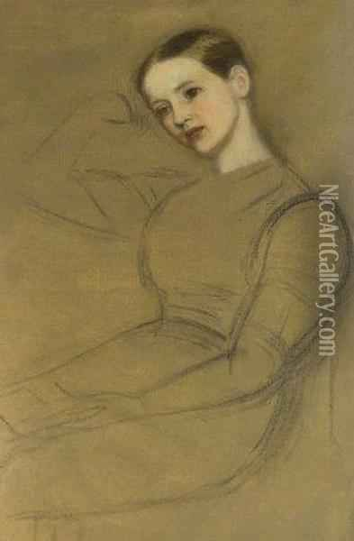 Portrait Of A Seated Girl Oil On Unstretched Canvas With Charcoal Oil Painting - Arthur Hughes