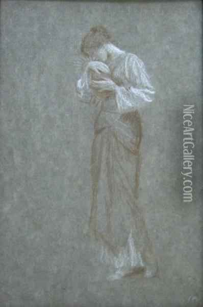 Study For The Life Of The Virgin Oil Painting - Arthur Hughes