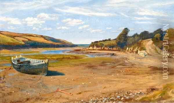 The Gannel, Low Water, Newquay, Cornwall Oil Painting - Arthur Hughes