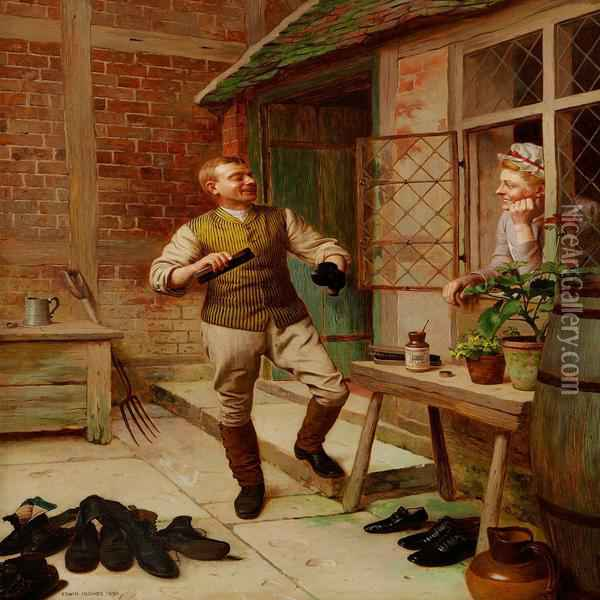 The Butler Is Polishing Shoes While Flirting With The Maid Oil Painting - Edwin Hughes