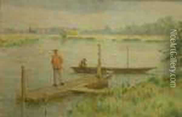 Fishermanon A Jetty Oil Painting - Claude Honore Hugrel