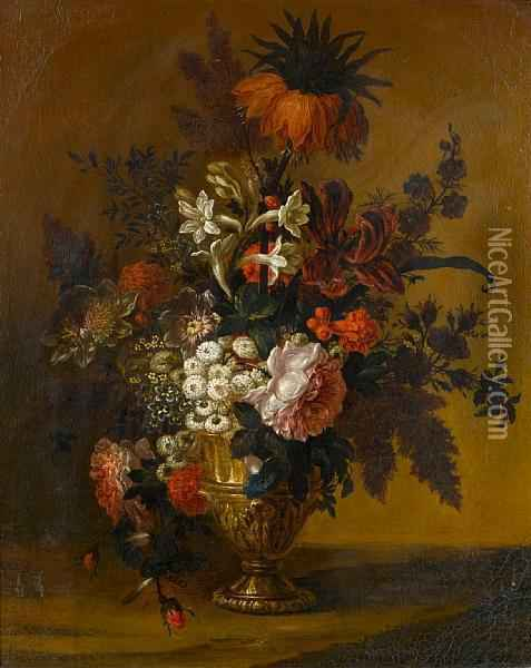 Tulips, Convolvulus, Roses And Other Flowersin A Bronze Urn On A Stone Ledge Oil Painting - Claude Huilliot