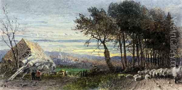 A Shepherd With His Flock At Dusk Oil Painting - William Hull