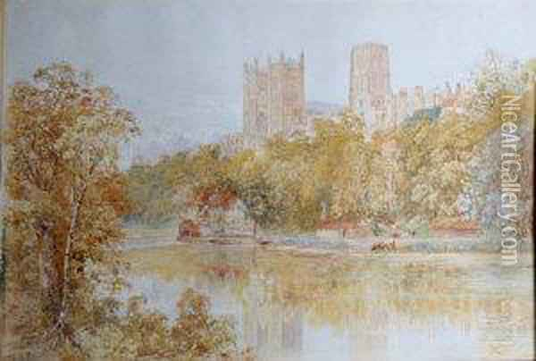 Cattle At The Riverbank Below Durham Cathedral Oil Painting - Thomas H. Hunn