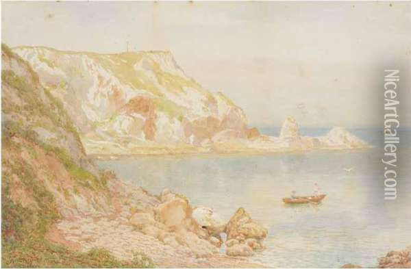 River Landscape; Anstey Cove Oil Painting - Thomas H. Hunn