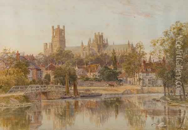 Ely Cathedral From The River Oil Painting - Thomas Hunt