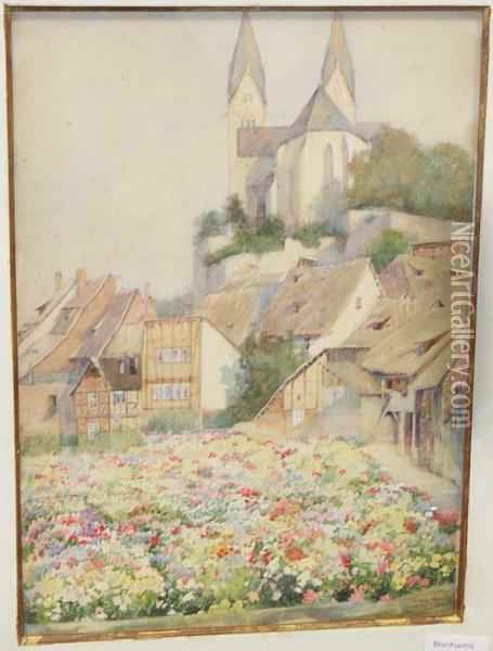 Continental Town With Flower Garden To The Foreground Oil Painting - Thomas Hunt