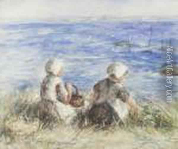 When The Sea Comes Up The Bents Oil Painting - Robert Gemmell Hutchison