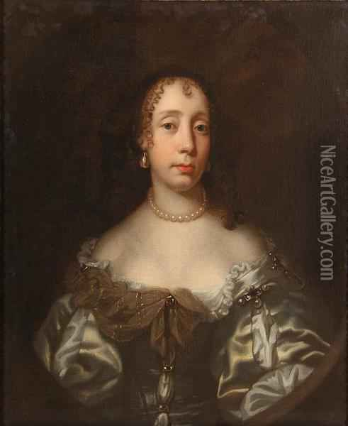 Portrait Of Catherine Braganza Wearing A Satin Dress, Pearl Necklace And Earrings Oil Painting - Jacob Huysmans