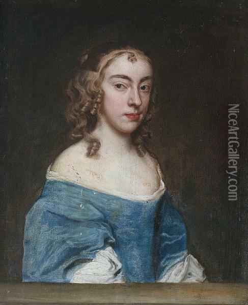 Portrait Of A Lady, Half-length, In A Blue Dress And A White Chemise, Seated Behind A Stone Ledge Oil Painting - Jacob Huysmans