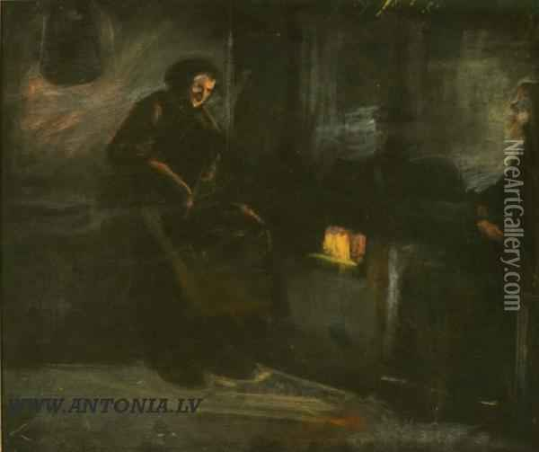Fireplace Oil Painting - Voldemars Irbe