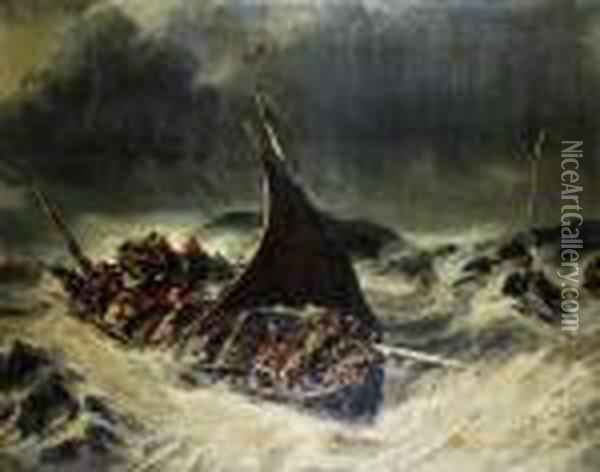 Caught In The Storm Oil Painting - Eugene Isabey