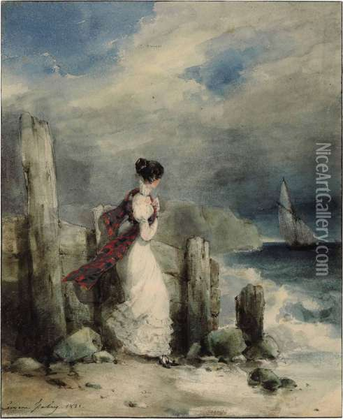 A Young Woman Standing On A Rocky Coastline Staring Out To Sea Oil Painting - Eugene Isabey