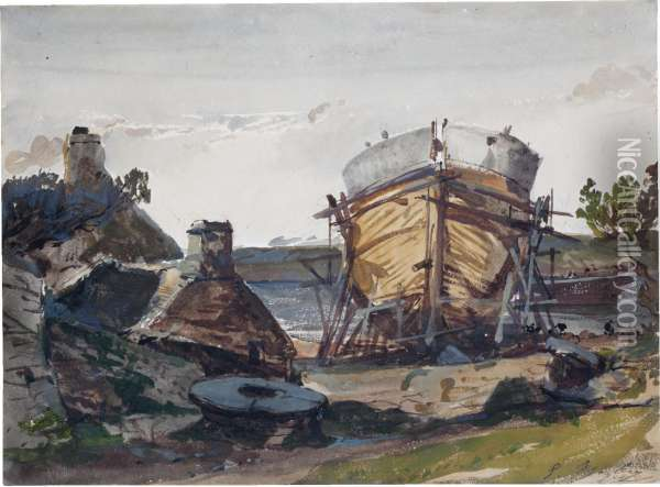 An Inlet, With A Boat Under Construction Oil Painting - Eugene Isabey