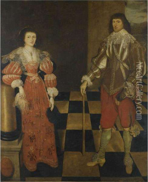 Portrait Of A Gentlemen And His Wife, Called Henry Carey, 2nd Earlof Monmouth (1596-1661) And His Wife Oil Painting - Gilbert Jackson