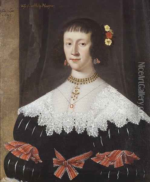 Portrait Of A Lady Said To Be Lady Musgrave Wife Of Sir Philip Musgrave Half Length In A Black Dress With A Lace Collar With Red Ribbons At Her