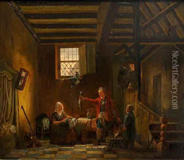 Interior Scene, With Fisherman Presenting His Catch Oil Painting - Jacobus Jacobs