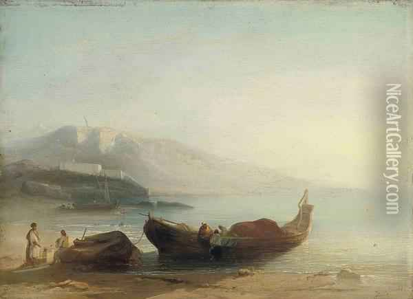 North African Fishermen On The Shore Oil Painting - Jacobus Jacobs