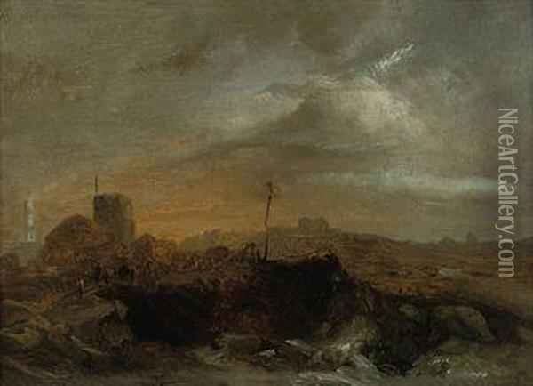 A Camel Train Before A Coastal Settlement Oil Painting - Jacobus Jacobs