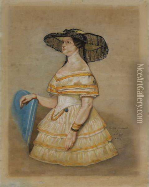 An Elegant Lady In A Hat Oil Painting - Claude Jacquand